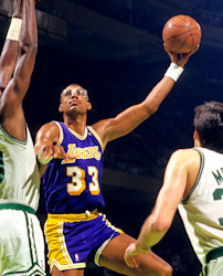 Los Angeles Lakers Kareem Abdul-Jabbar with Boston Celtics Robert Parish and Kevin McHale  late 1980s
